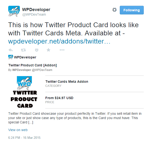 Twitter Product Card [Addon]