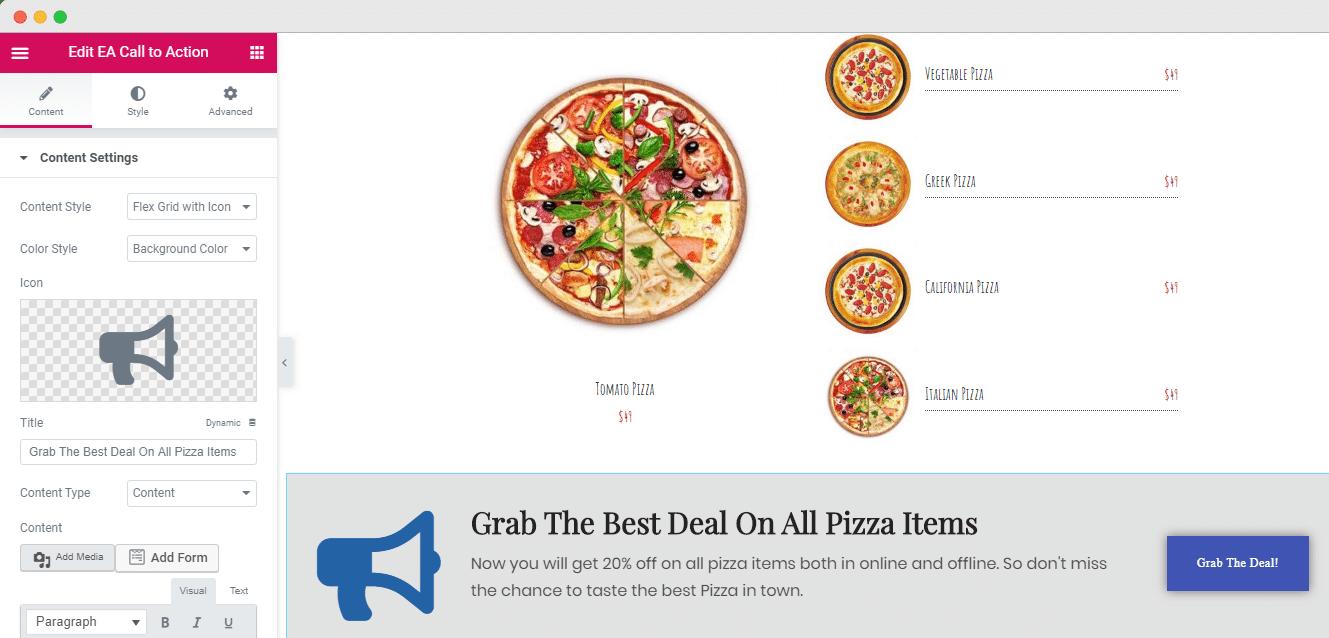 price menu Elementor