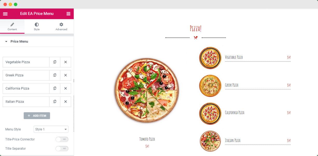 pricing menu elementor